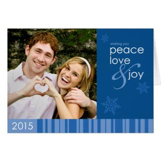 2015年の平和、愛および喜びの青い休日の写真カード グリーティングカード