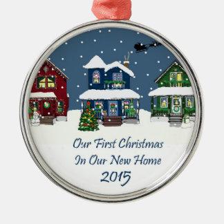 2015私達の新しい家の私達の初めてのクリスマス メタルオーナメント