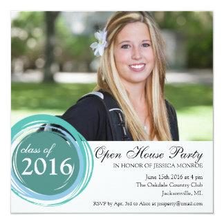 2016のオープンハウスの卒業の招待状の青の円 13.3 スクエアインビテーションカード