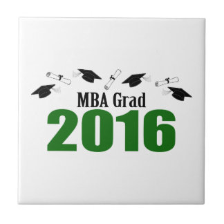 2016の帽子および免状(緑)のMBAの卒業生のクラス タイル