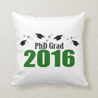2016の帽子および免状(緑)のPhDの卒業生のクラス クッション
