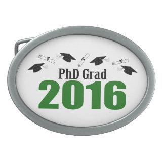 2016の帽子および免状(緑)のPhDの卒業生のクラス 卵形バックル