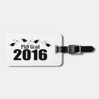 2016の帽子および免状(黒)のPhDの卒業生のクラス ラゲッジタグ