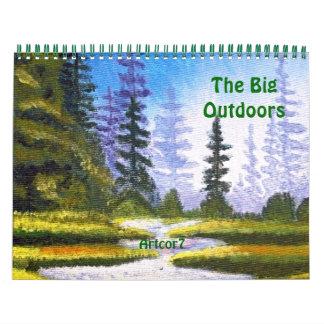 2016カレンダーの大きいアウトドアの芸術のマツ森林 カレンダー