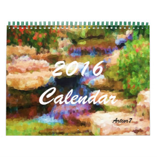 2016カレンダーの芸術の日本のな庭の標準2のページ カレンダー