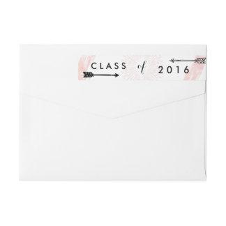 2016ピンクの卒業のBohoのシックなクラス ラップアラウンドラベル