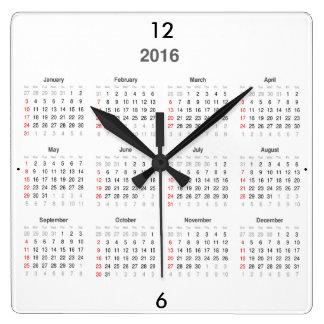 2016個のカレンダーのギフト スクエア壁時計