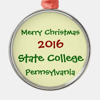 2016州立大学のペンシルバニアのクリスマスのオーナメント シルバーカラー丸型オーナメント