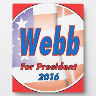 2016年に大統領のためのジムWebb フォトプラーク