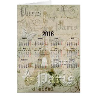 2016年のエッフェル塔のパリの新年のギフト カード