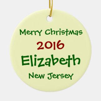 2016年のエリザベスニュージャージーのメリークリスマスのオーナメント セラミックオーナメント