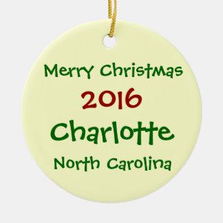 2016年のシャーロットノースカロライナのクリスマスのオーナメント セラミックオーナメント