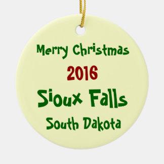 2016年のスーフォールズサウスダコタのクリスマスのオーナメント セラミックオーナメント