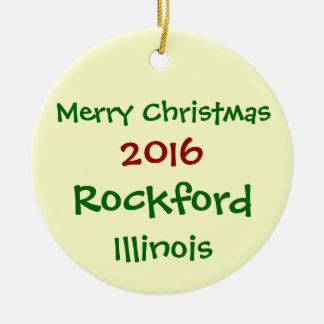 2016年のロックフォードイリノイのメリークリスマスのオーナメント セラミックオーナメント