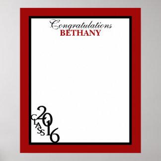 2016年の卒業の自筆の記念品の赤のクラス ポスター