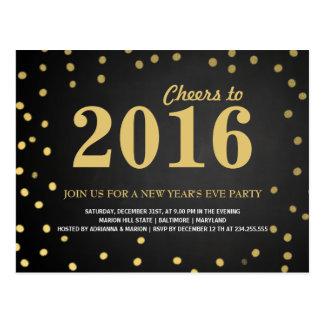 2016年の黒板の金ゴールドの紙吹雪の新年のパーティー ポストカード