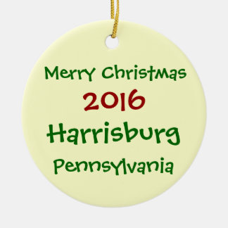 2016年のHARRISBURGペンシルバニアのクリスマスのオーナメント セラミックオーナメント
