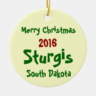 2016年のSturgisサウスダコタのメリークリスマスのオーナメント セラミックオーナメント