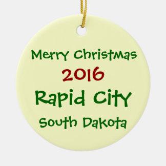 2016急流都市サウスダコタのクリスマスのオーナメント セラミックオーナメント