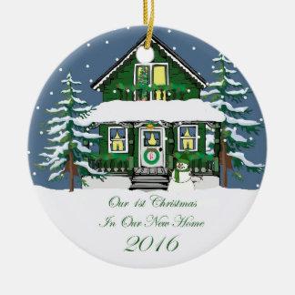 2016新しい家のクリスマスの雪だるまの家 セラミックオーナメント