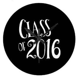 2016白黒ヴィンテージの手書きのクラス ラージ壁時計
