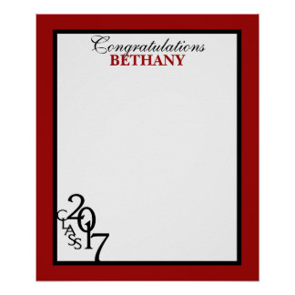 20167の卒業の自筆の記念品の赤のクラス ポスター