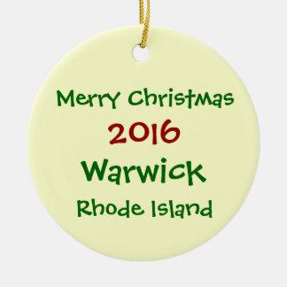 2016 WARWICKロードアイランドのメリークリスマスのオーナメント セラミックオーナメント