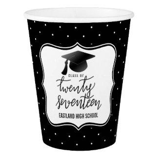 2017の原稿のBlack Hat会議|の水玉模様の黒のクラス 紙コップ