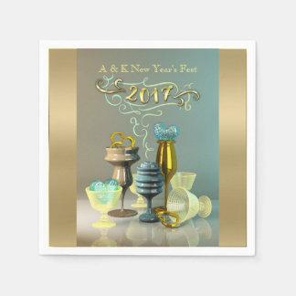 2017の新年のスタイリッシュな金ゴールドのターコイズのパーティーガラス スタンダードカクテルナプキン