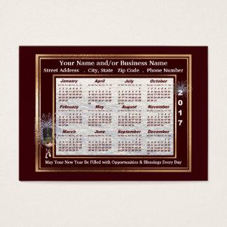 2017の新年の挨拶の名刺のカレンダー 名刺