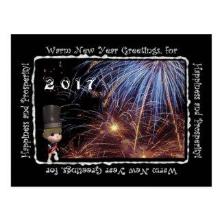 2017の暖かい新年の挨拶の郵便はがき ポストカード