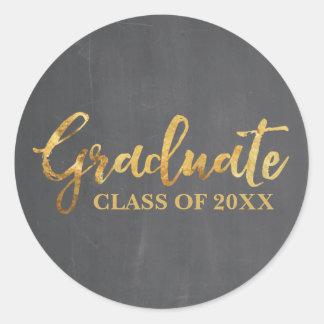 2017の灰色および金ゴールドのステッカーの大学院のクラス ラウンドシール