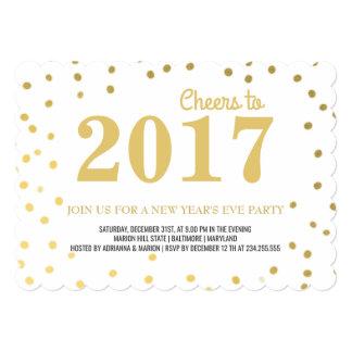 2017年のお洒落な金ゴールドの紙吹雪の新年のパーティー カード