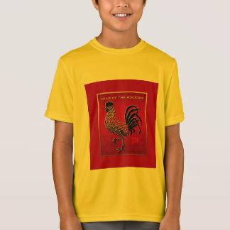 2017年のオンドリ年のエンボスによってエナメルを塗られる効果の黄色 Tシャツ