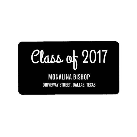 2017年のタイポグラフィの黒のモダンの大学院のクラス 宛名ラベル