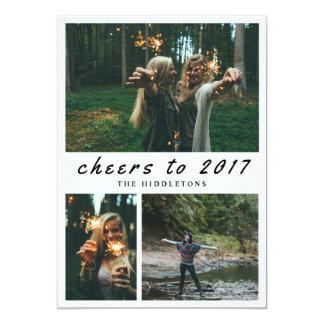 2017年のタイポグラフィへの応援カジュアルな| 3つの写真 12.7 X 17.8 インビテーションカード