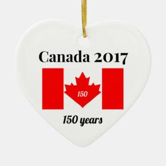 2017年のハートの旗のカナダ150 セラミックオーナメント