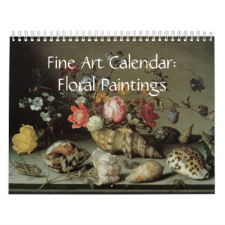 2017年のファインアートのカレンダーの花柄の絵画 カレンダー