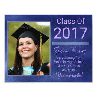 2017年の卒業の写真の青くグランジなクラス 10.8 X 14 インビテーションカード