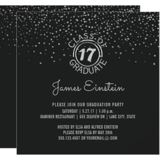 2017年の卒業パーティー|の黒い銀製の点のクラス 13.3 スクエアインビテーションカード
