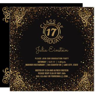 2017年の卒業パーティー|の黒くエレガントな金ゴールドのグリッター 13.3 スクエアインビテーションカード
