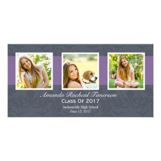 2017年の数々のな写真のシックな紫色の石板の卒業 カード