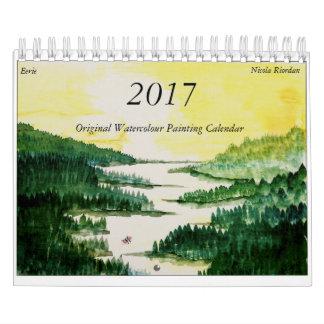 2017年の水彩画のカレンダー カレンダー