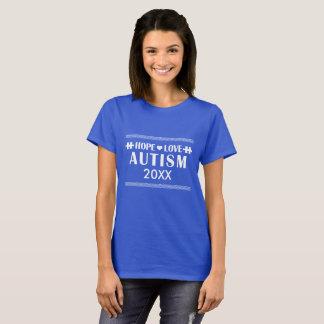 2017年の自閉症の認識度の歩行の名前入りなTシャツ Tシャツ