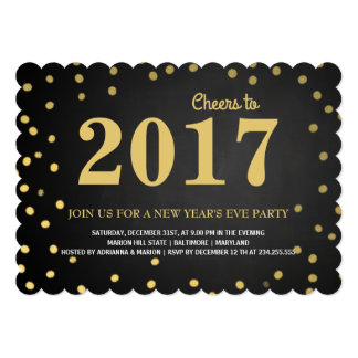 2017年の黒板の金ゴールドの紙吹雪の新年のパーティー カード