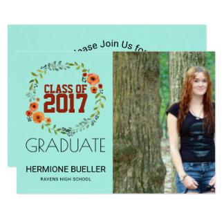 2017年のBohoの花柄 の写真の卒業パーティーのクラス 12.7 X 17.8 インビテーションカード