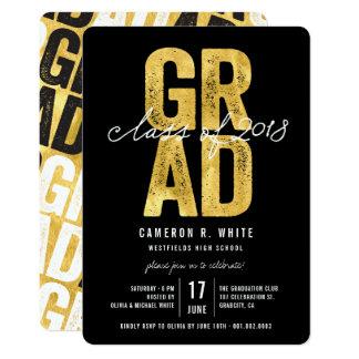 2018人のパーティーの招待のはっきりしたな卒業生の金ゴールドホイルのクラス カード