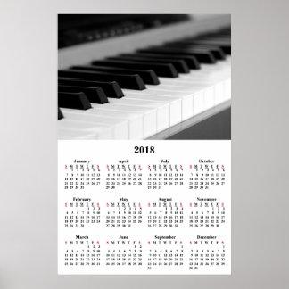 2018壁掛けカレンダー美しい音楽ピアノポスター ポスター