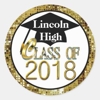 2018年のきらめくな金ゴールドの卒業のシールのクラス ラウンドシール