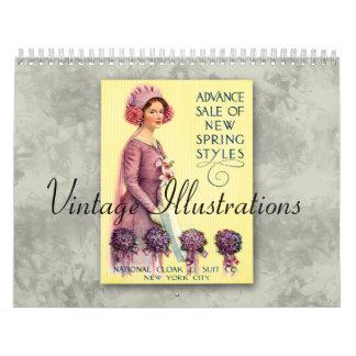 2018年のヴィンテージのイラストレーションのカレンダー カレンダー